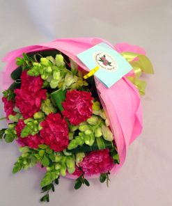 Carnations and Yellow Snapdragon Bouquet (C08)