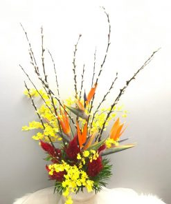 Pussy Willows with Orchids Arrangement (FA17)