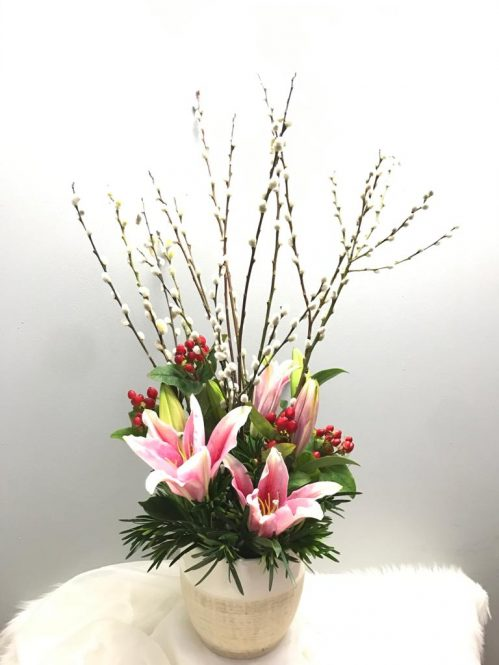 Pussy Willow with Lilies Arrangement (FA16)