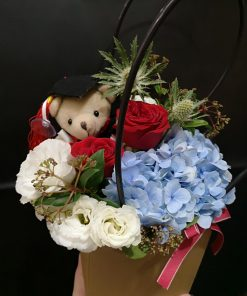 Red Blue Graduation Flower In Floral Purse (R91)