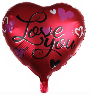 """Love You"" Balloon - Black Wordings (B80)"