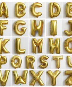 Gold Alphabet Balloons (16in) (B02)