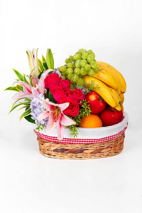 Get Well Soon Fruit Basket with Flowers (H00)