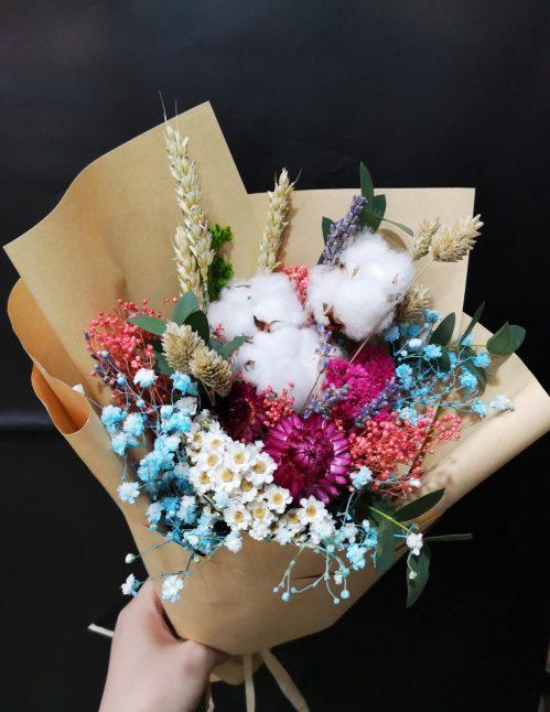 Dried Rainbow Wildflowers Graduation Bouquet (W06)