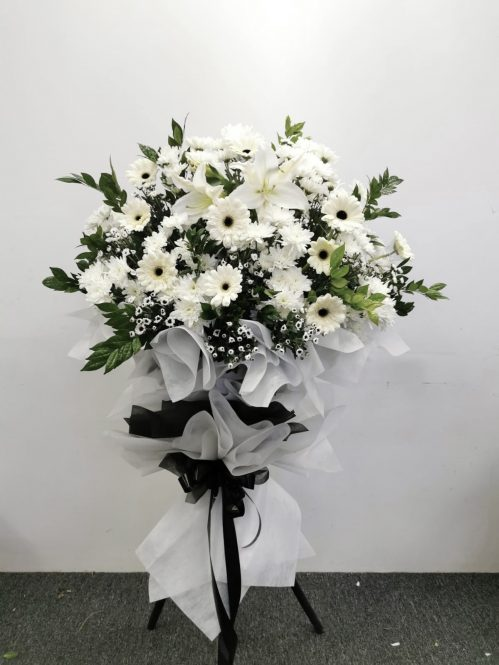 Modern Condolence Flower Tripod Stand   Single Tier Metal Stand